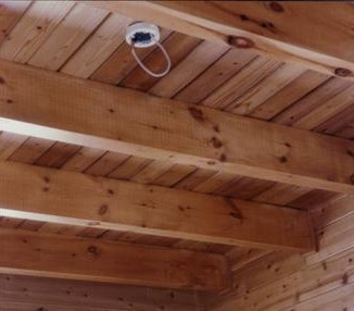beamed ceiling log home