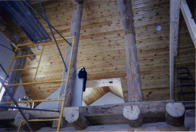 vaulted ceiling natural pine tongue and groove