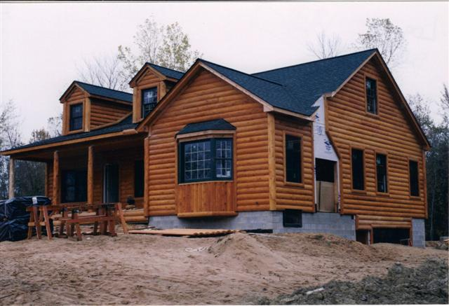 log home showing foundation