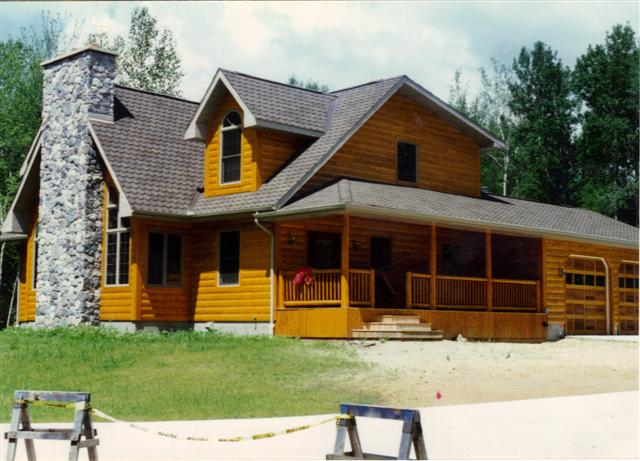 completed log home