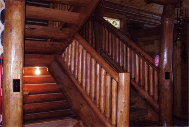 wood log staircase