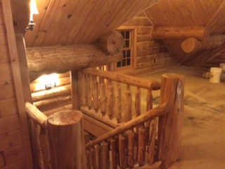 new log home stair railing