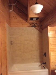tub enclosure log home Cabin Fever