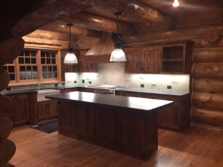 log home new kitchen island