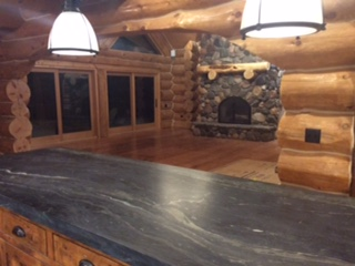 granite counter tops log home