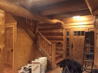 log staircase log home