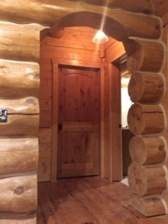 natural wood door log home