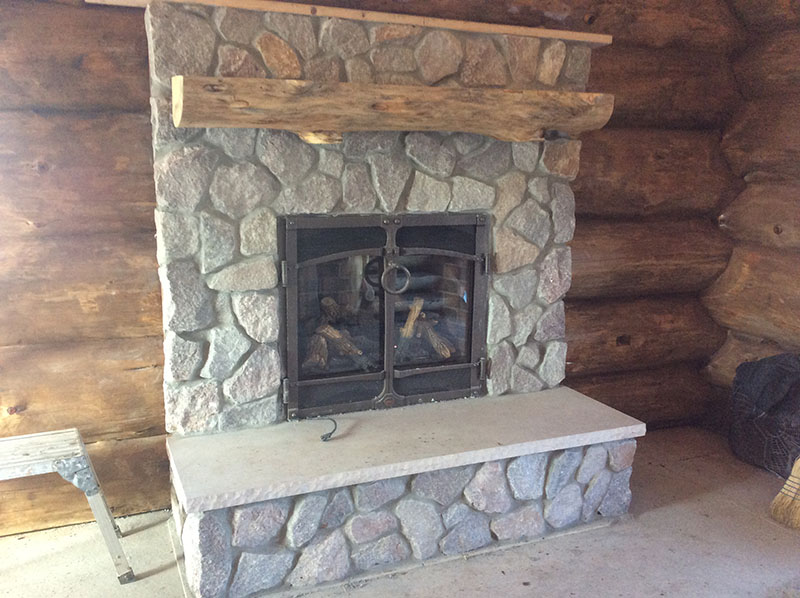 stone fireplace Grizzly Bob Cabin Fever