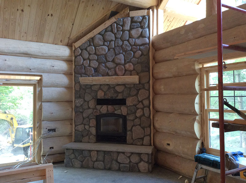 log home stone fireplace